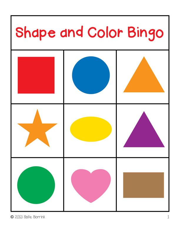 Shapes And Colors Bingo Game Cards 3 3 Shapes Preschool Color Games For Toddlers Preschool Colors