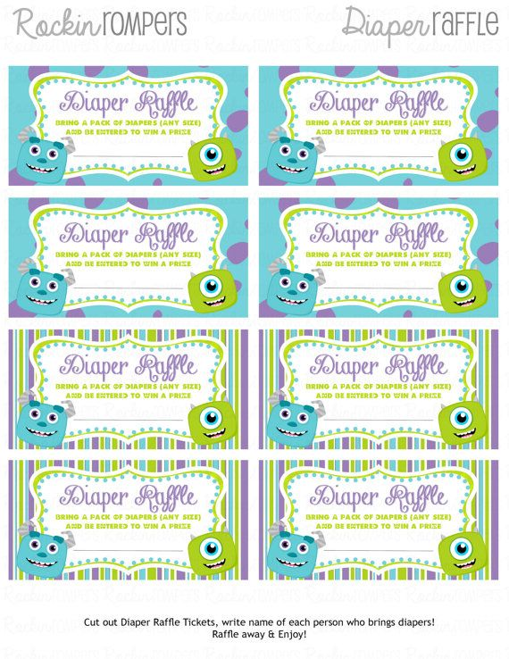 Monsters Inc Inspired Diaper Raffle ticket Party\/Events - raffle ticket