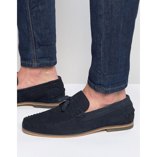2526758d647 ASOS Tassel Loafers in Navy Suede With Fringe and Natural Sole ( 60) ❤ liked