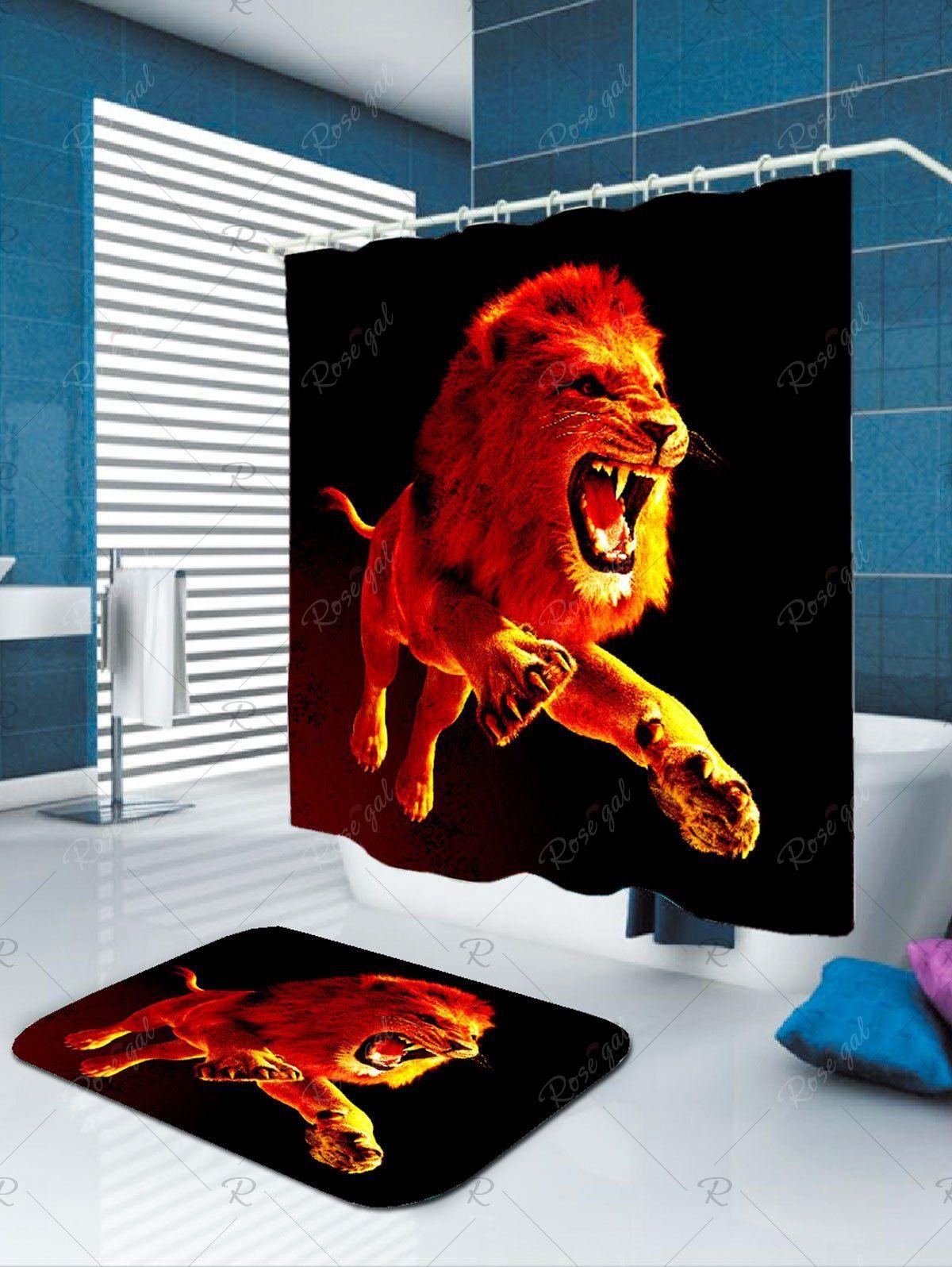 Waterproof 3d Lion Printed Shower Curtain Lion Print Printed