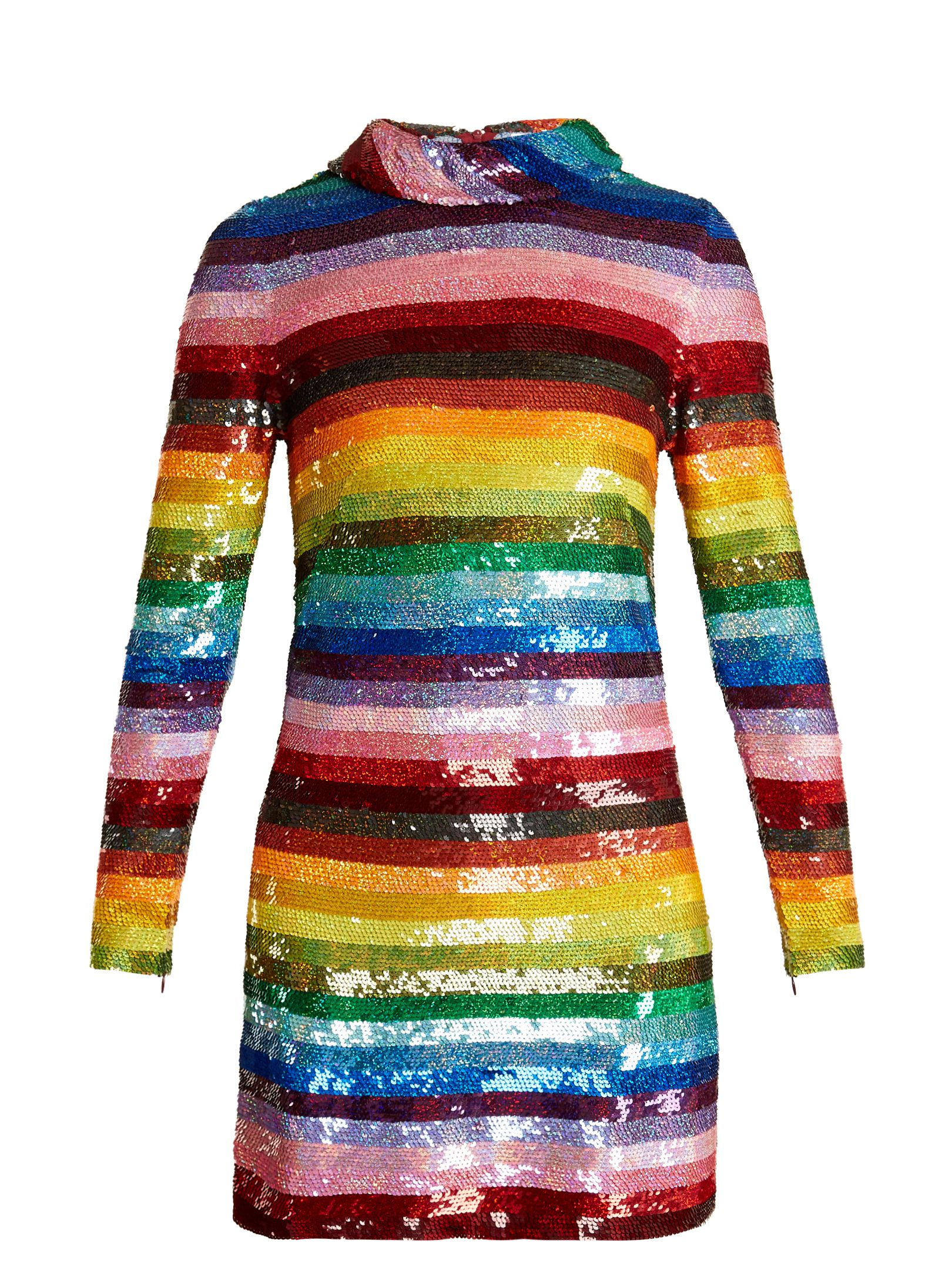 49c6a70e2a142a Rainbow-striped sequin-embellished silk mini dress