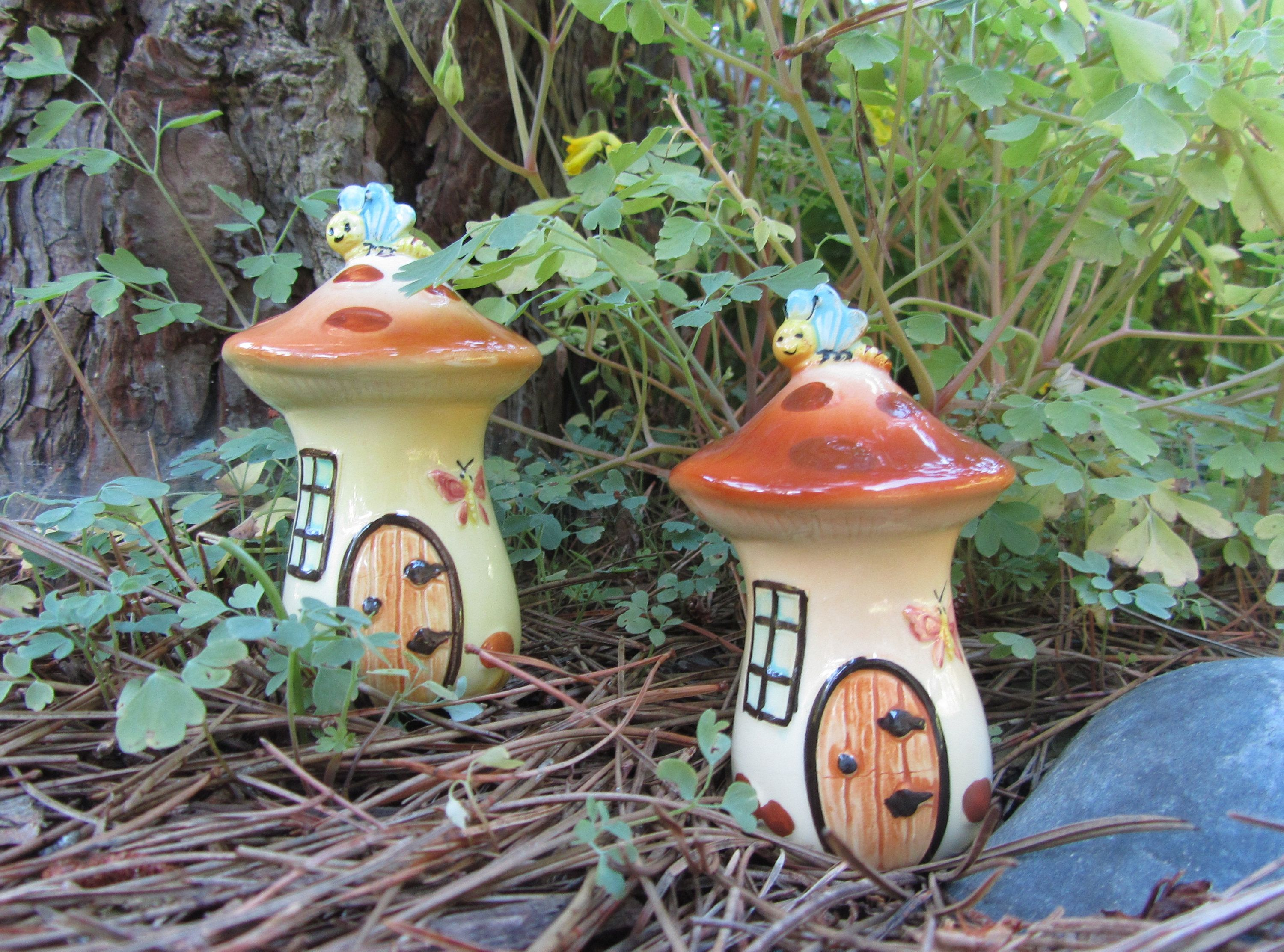 Artistic Vintage House Salt Pepper Home Mushroom Fairy Garden House Mushroom Fairy Garden Pepper Home Figurineshakers Whimsical Decor Art Gift Vintage House Salt garden Mushroom Fairy Garden