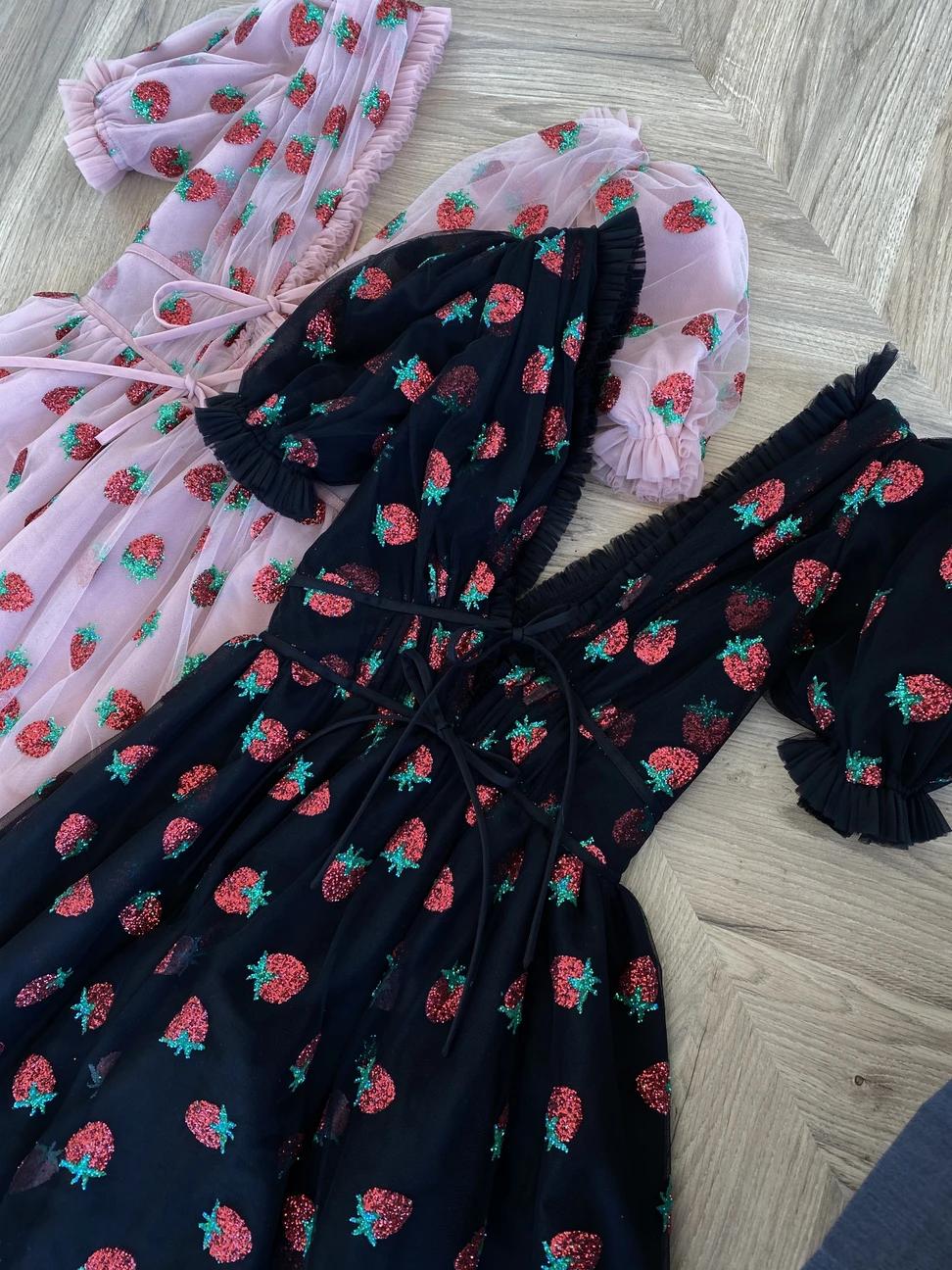 Strawberry Midi Dress Black Pretty Dresses Strawberry Dress Black Midi Dress [ 1296 x 972 Pixel ]