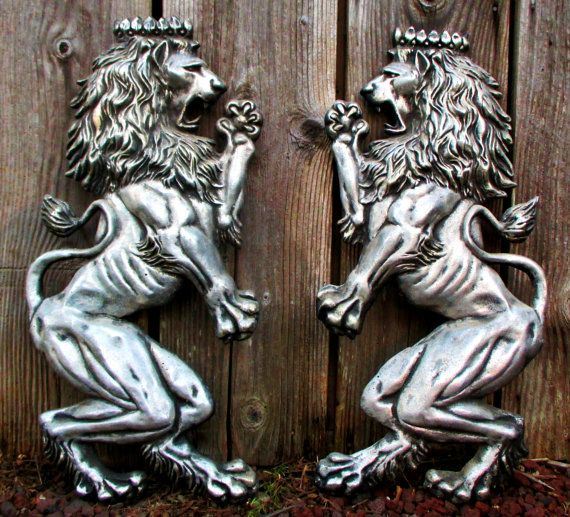 Huge Lion Pair Coat Of Arms Vintage Rampant Lions Wall