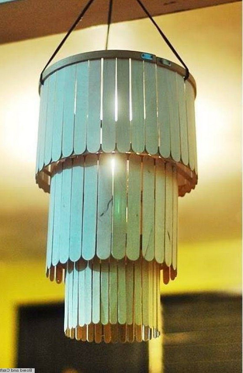 Crafts Made With Popsicle Sticks Upcycle Art Diy Popsicle Stick Crafts Popsicle Stick Diy Diy Chandelier