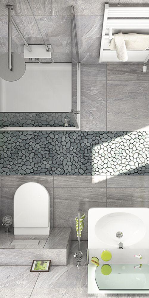 Mosaik Und Graue Natursteinfliesen Geben Deinem Badezimmer Den