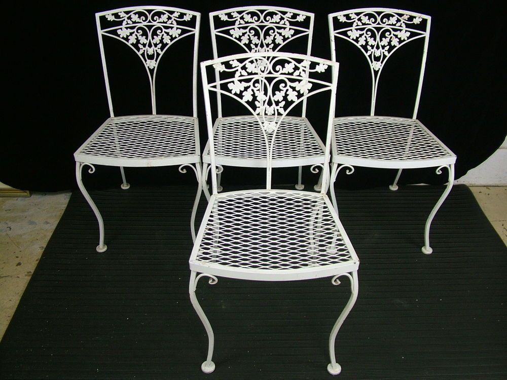 Set 4 Vintage 1950 S Woodard Acorn Wrought Iron Patio Garden
