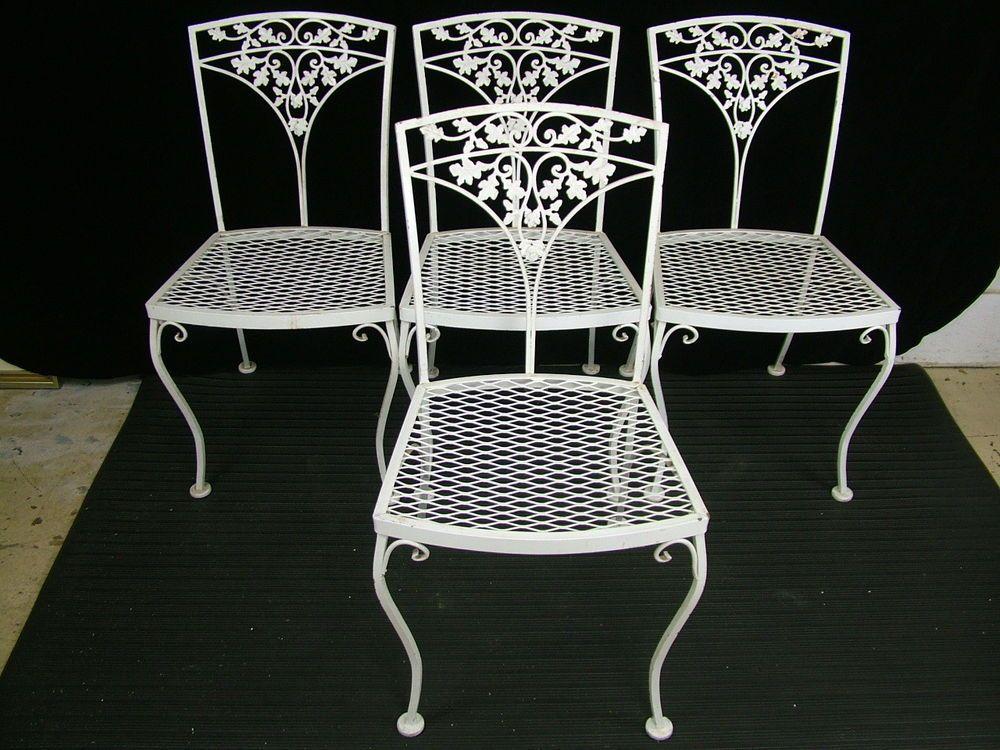 Set 4 Vintage 1950u0027s Woodard Acorn Wrought Iron Patio Garden Dining Side  Chairs