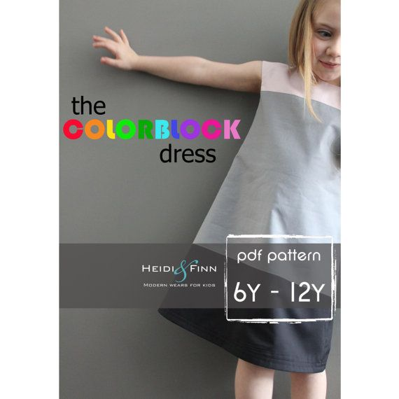 Colorblock dress pattern and tutorial 6-12y EASY SEW fully lined ...
