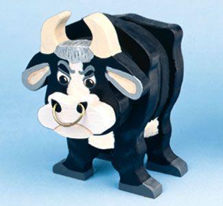 layered bull woodcraft pattern  brinquedos de madeira de