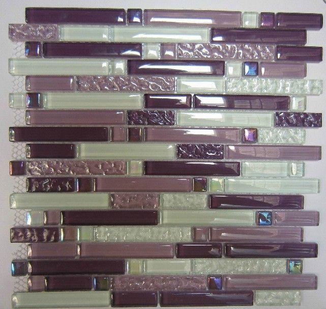 Purple glass mosaic tile backsplash SGMT063 white glass tiles ...