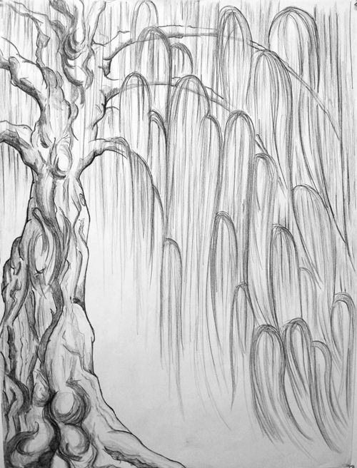 Mary Ann and the Tree by the River. Pencil sketch.
