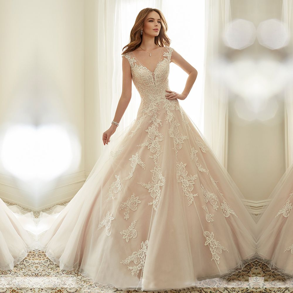 New Love a Beautiful V Neck Champagne Lace Wedding Dresses Women Backless Ball Gown Wedding Dress Elegant