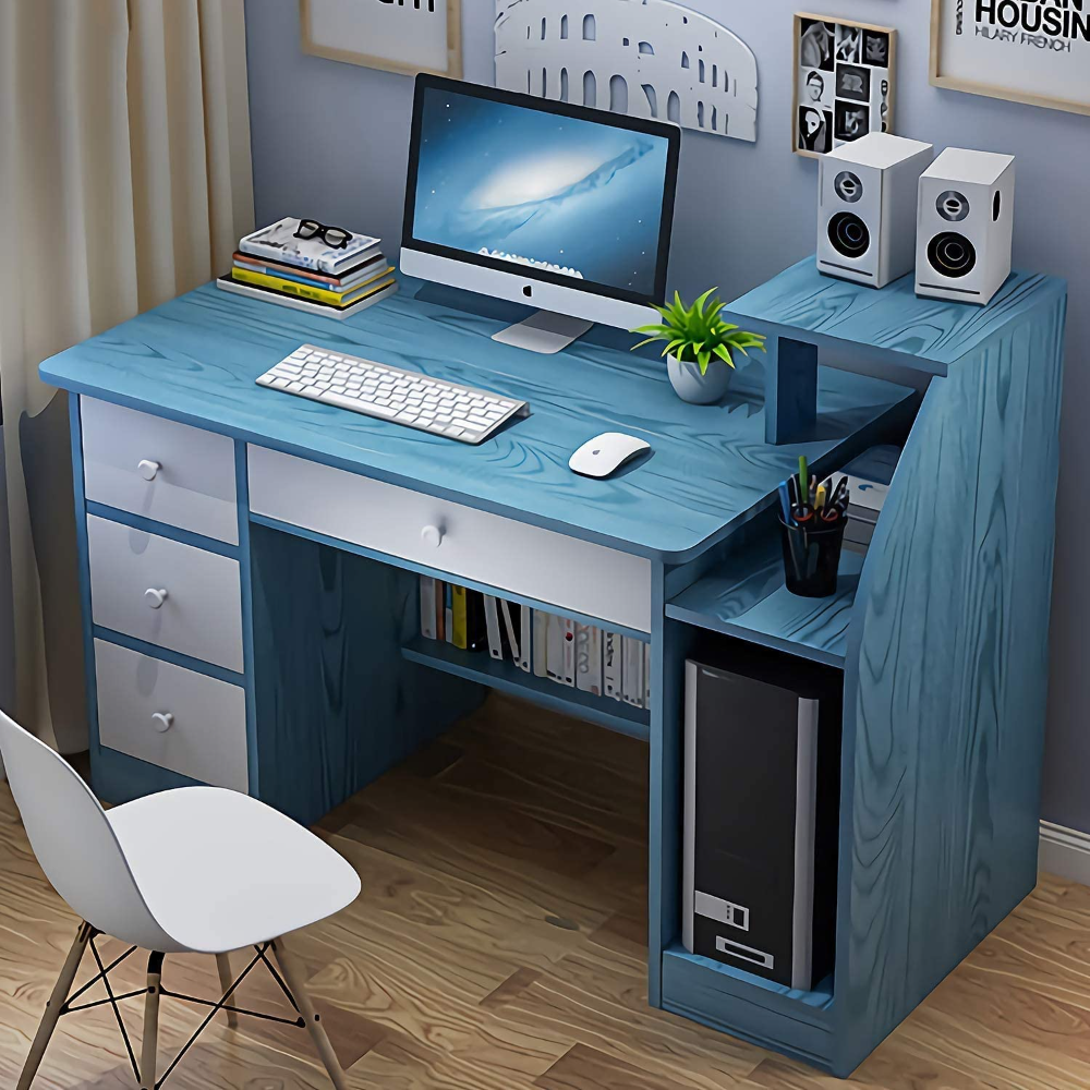 Amazon Com Computer Desk With Drawer Home Office Desks With Bottom Storage Shelves And Drawer Student Study Desk Home Office Desks Desk Computer Table Design