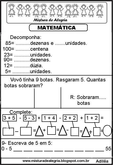 20 Atividades De Matematica Ensino Fundamental Para Imprimir