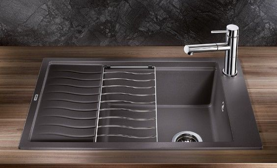 blanco precis single silgranit kitchen sink dualmount with drainboard vier de cuisine simple avec - Blanco Kitchen Sinks