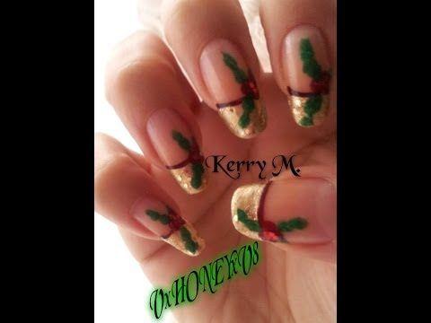 Holly Nail Art Youtube Christmas Nail Art Gold And Red Nails