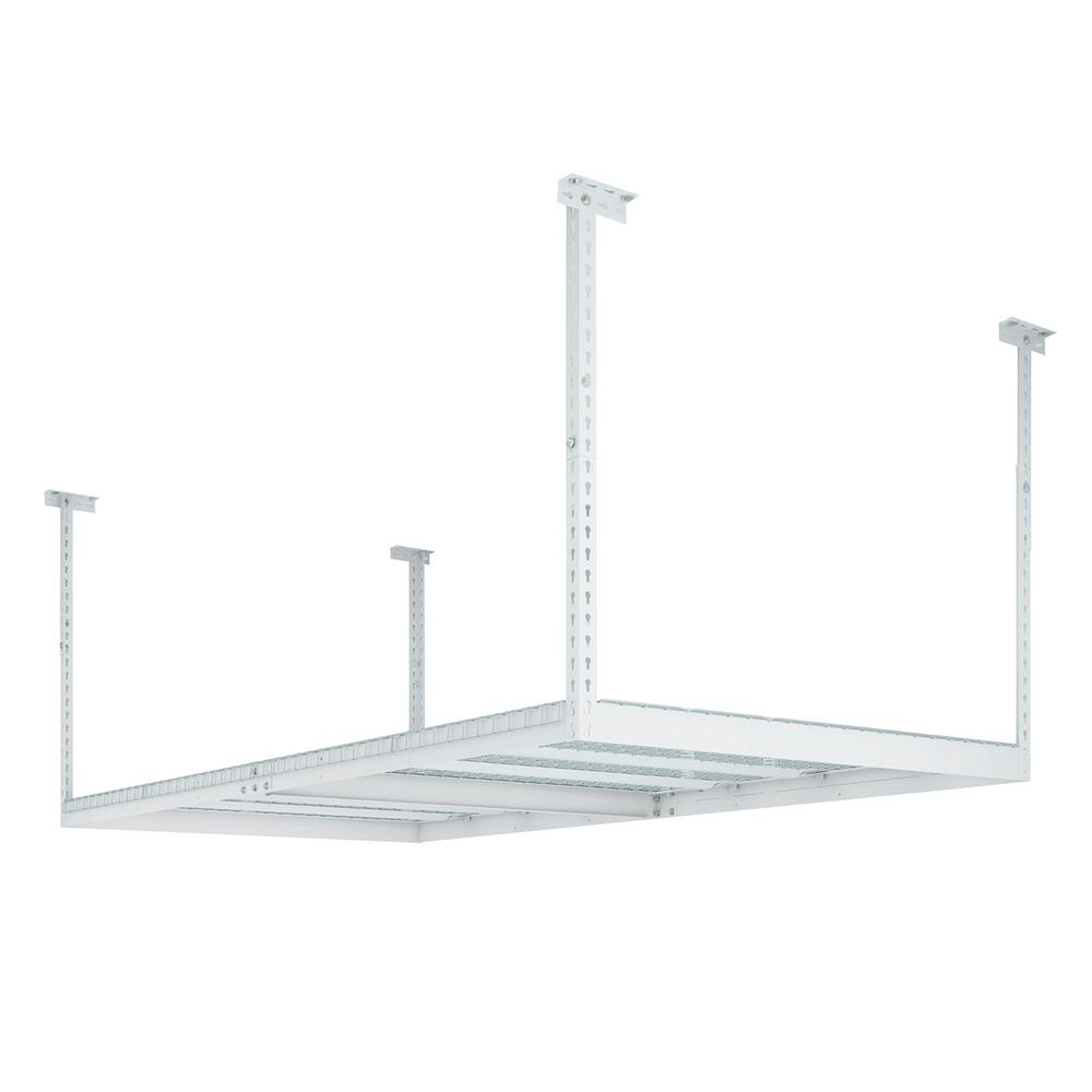Newage Products Versarac 48 In W X 42 In H X 96 In D Adjustable Ceiling Mounted Storage Rack In Gray 40151 The Home Depot Newage Products Ceiling Storage Rack Overhead Garage Storage