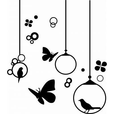 Sticker mural les papillons et oiseaux | stickers | Pinterest ...