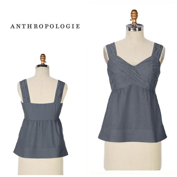 """Anthropologie """"Annalea"""" blouse Pleated bust for a flattering look. Size 10 but runs small so I would suggest a size 6-8 wear this . Bust measures 18.5"""" across . Will bundle for 10% off . Color - grey. Great top for summer w shorts. Length - 24"""" Anthropologie Tops"""