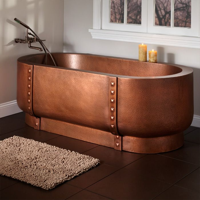 67 Tokoro Double Wall Hammered Copper Freestanding Tub   Steampunk Bathroom