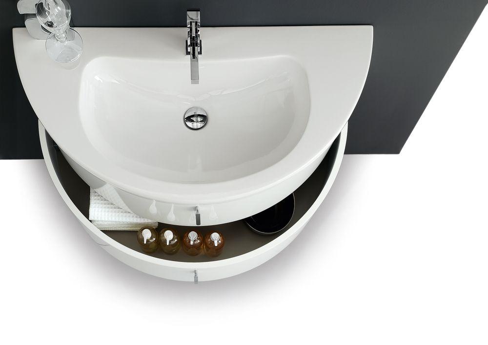 Arcom I Quantum Mobile Bagno 106 Cm In Ceramica E Laccato Bianco Opaco Sous La Douche Douche Meuble Salle De Bain
