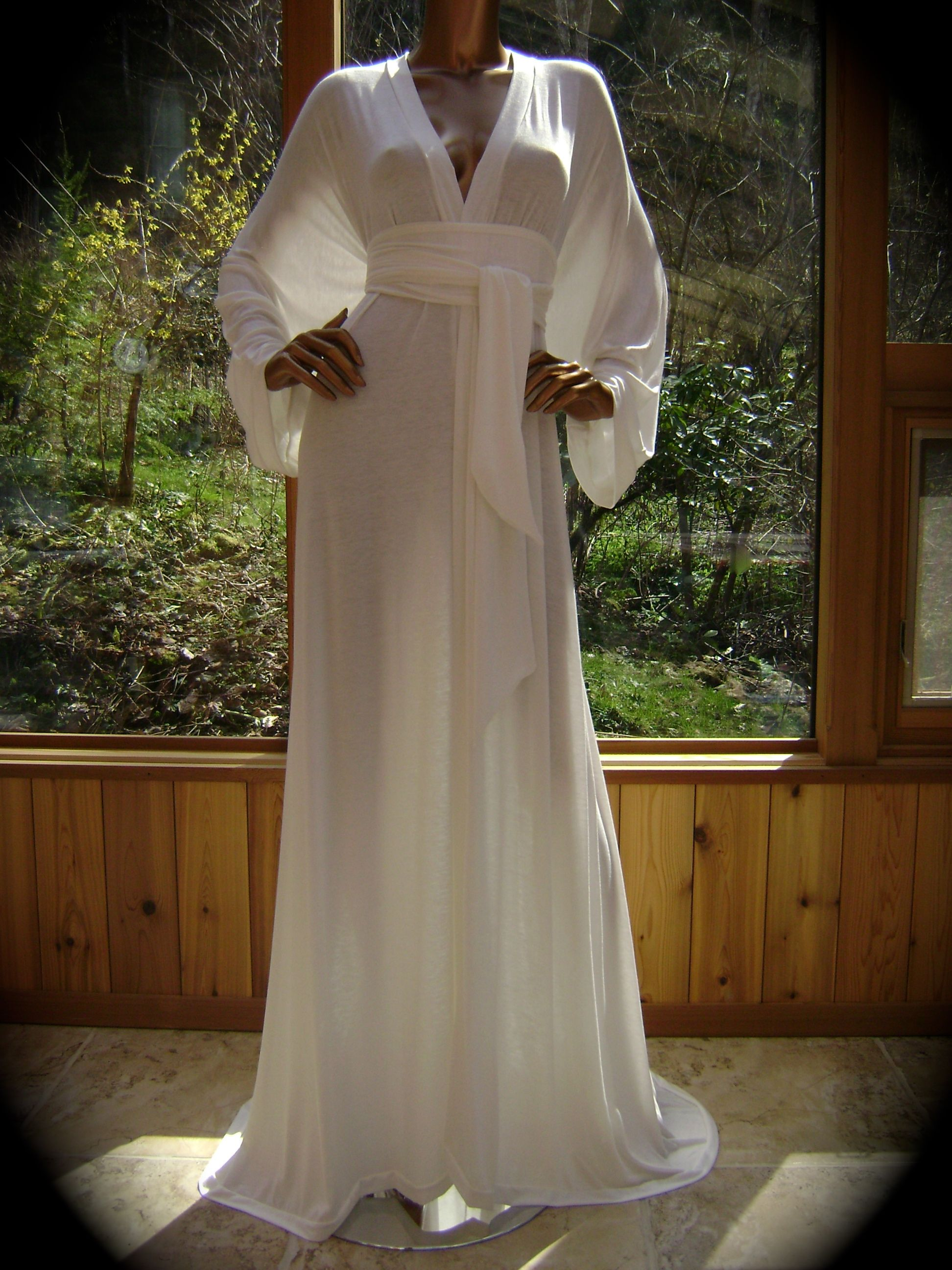 Elegant dressing robe in natural white stretch knit by jane havens
