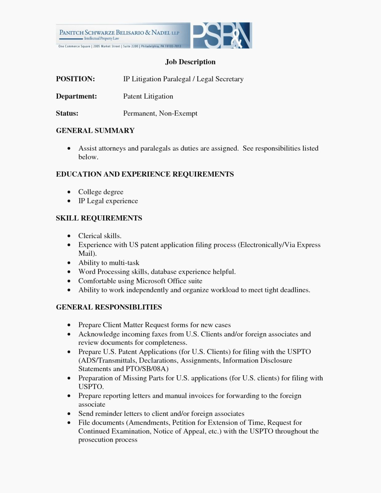 20 Legal assistant Job Description Resume Job