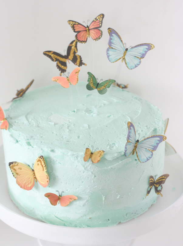 An easy butterfly cake using stickers and a little trick for flying     An easy butterfly cake using stickers and a little trick for flying  butterflies