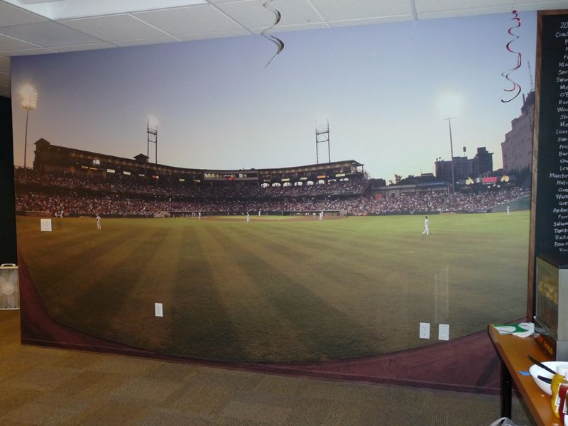 Baseball Stadium Wall Mural At Managed Solution Corner To Bedroom WallpaperWallpaper