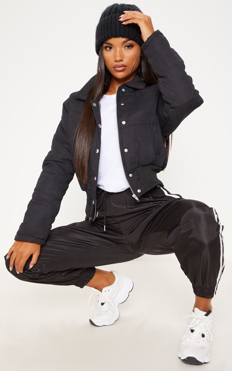 Black Peach Skin Cropped Puffer Jacket Puffer Jacket Outfit Black Puffer Jacket Winter Jacket Outfits