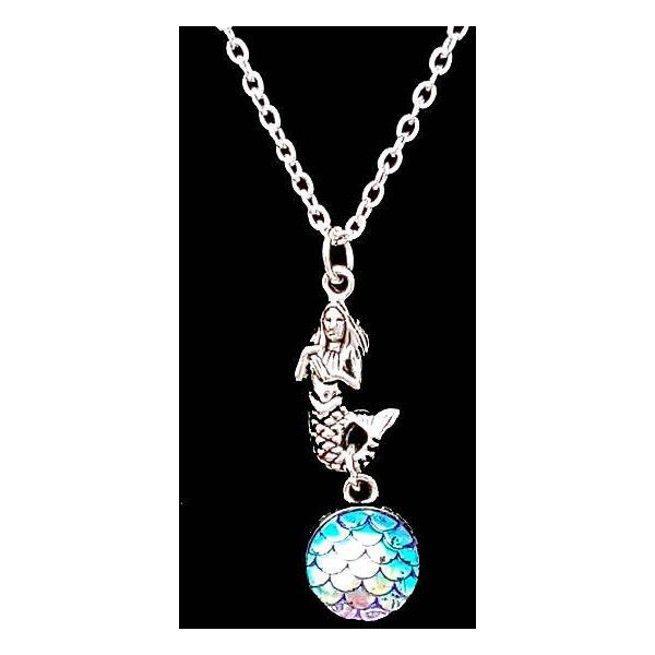 Silver Mermaid Blue Scales Charm Necklace, Mermaid Jewellery Jewelry,... ($9.99) ❤ liked on Polyvore featuring jewelry, silver pendant jewelry, silver charms jewelry, fish charms, pendant jewelry and silver charm pendant
