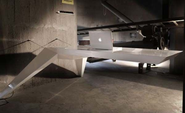 wonderful futuristic office desk   Futuristic desk that seems to be levitating   Domestic ...