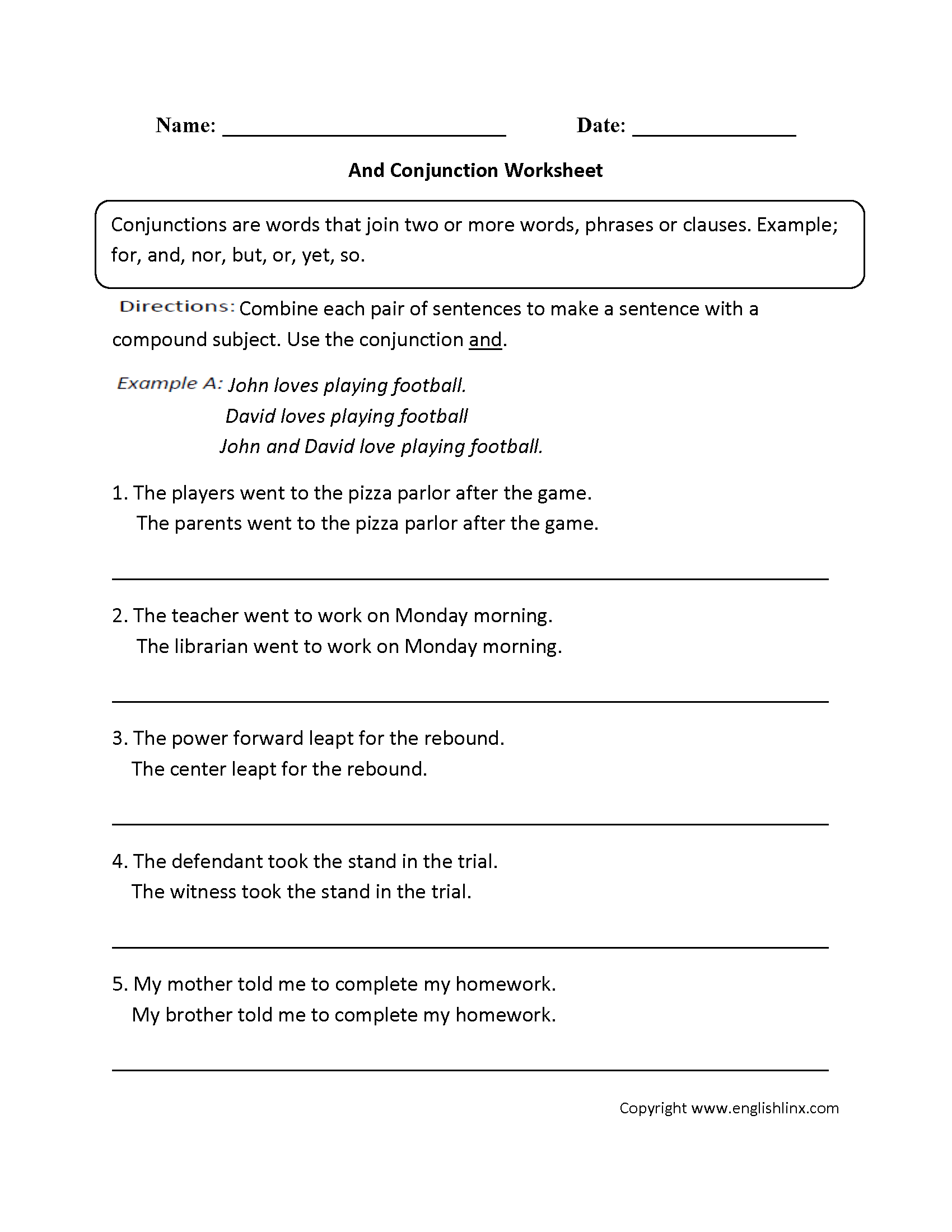 Worksheets Conjunction Worksheets Cheatslist Free Worksheets For Kids Amp Printable