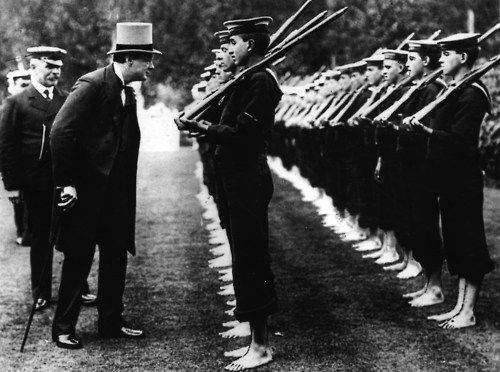 Churchill inspects cannon fodder.