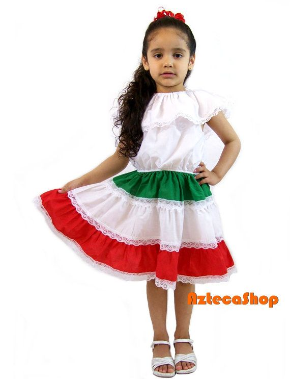 Mexican Dress for Girls 3 Color Size 6 by AztecaShop on Etsy | Nena hair ideas | Pinterest ...