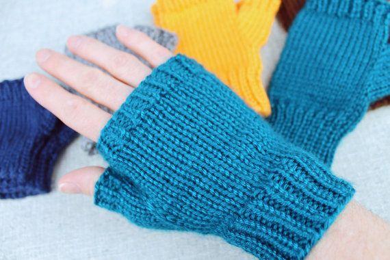 Knitting Pattern Fingerless Gloves Basic Solid Color Finger Less
