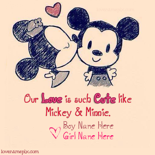 Cute Disney Quotes About Love: Write Couple Name On Beautiful Cute Disney Mickey Minnie