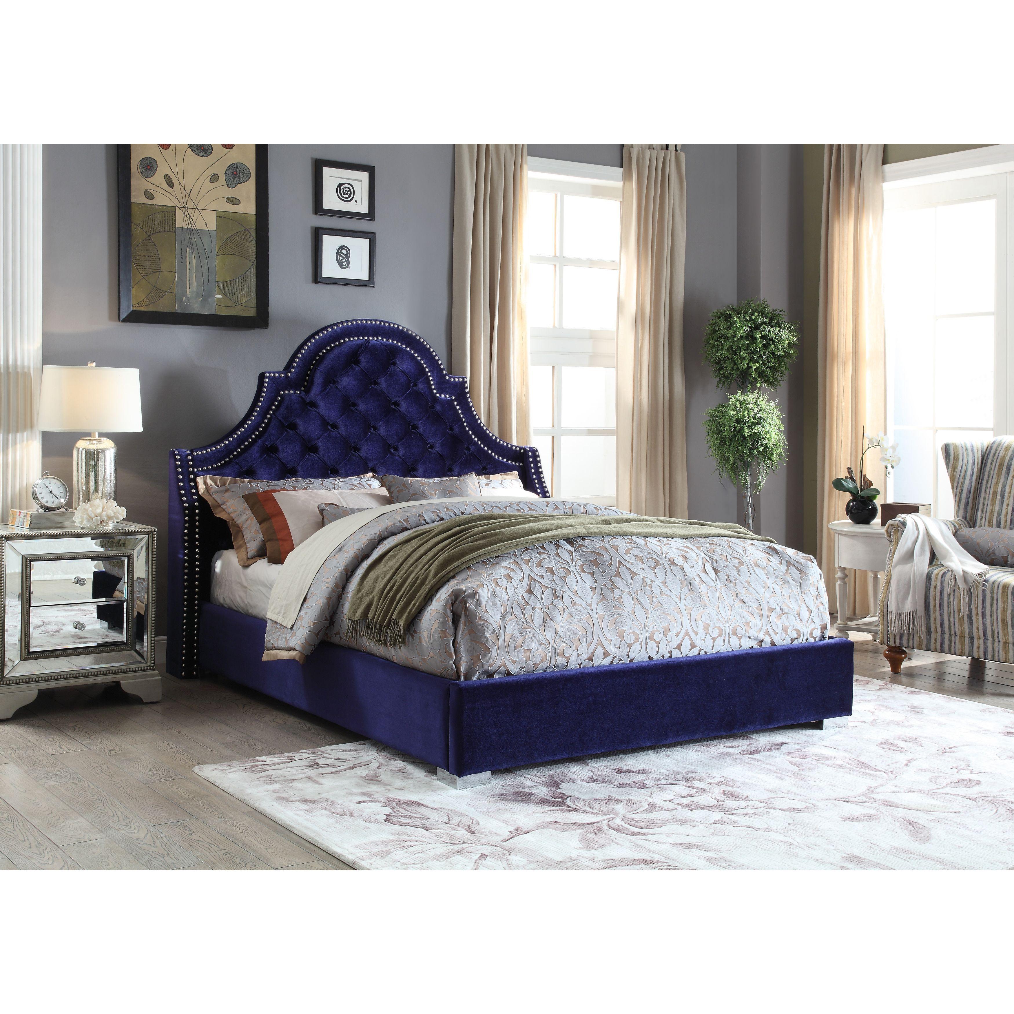 meridian madison navy velvet bed king blue velvet bed navy