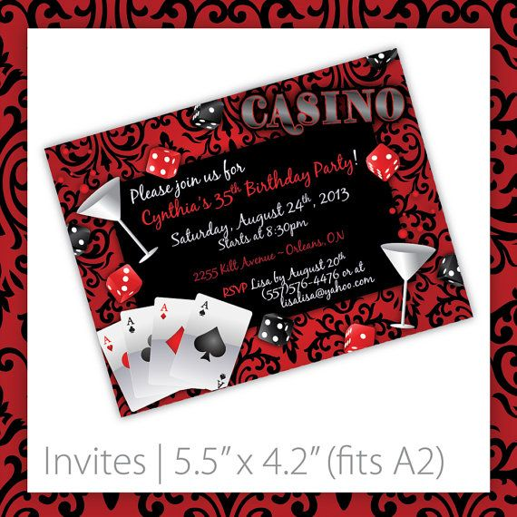 Clever image in free printable casino party invitations