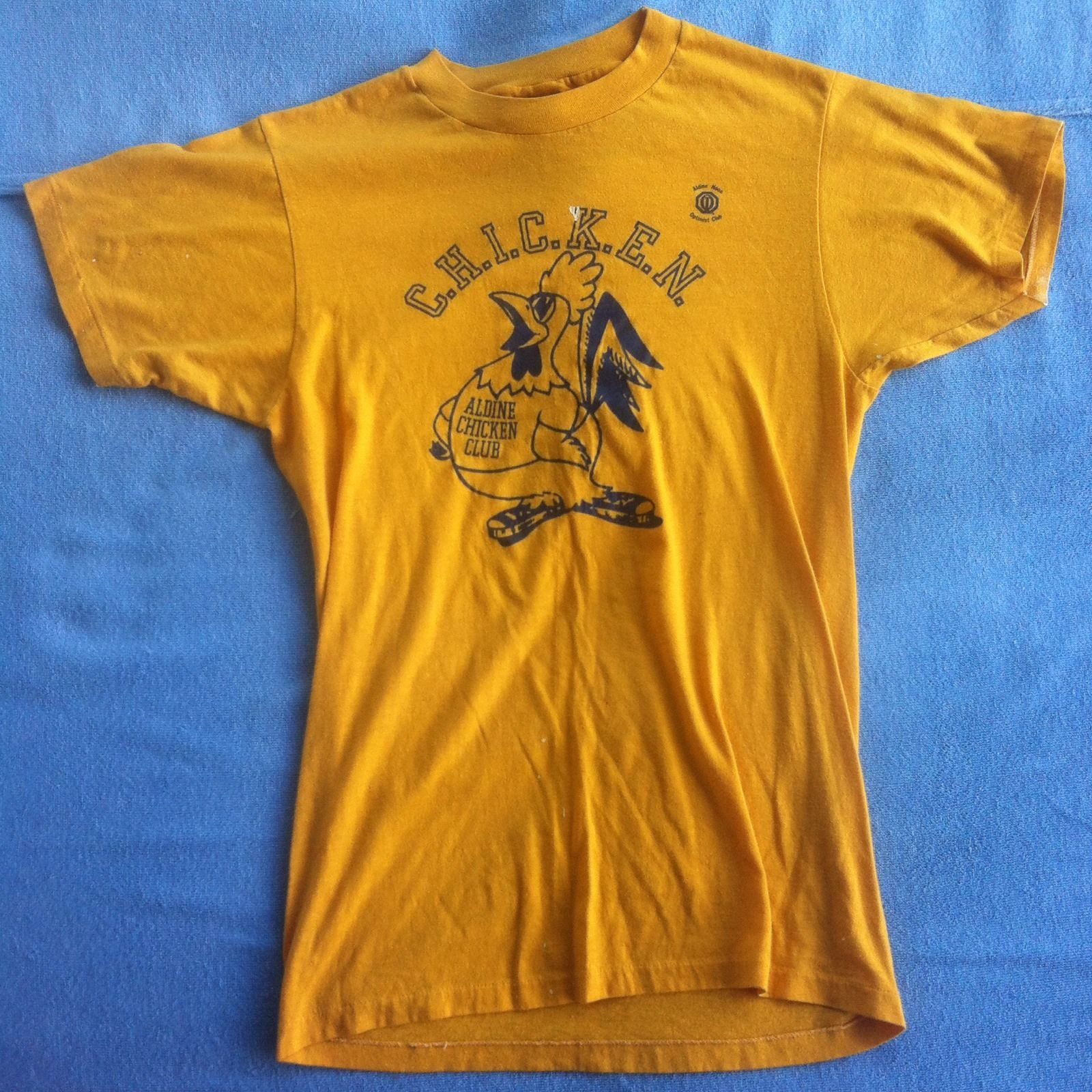 Mens Vintage Medium Yellow USA Made 50 50 T Shirt Chicken Anti Drugs Cotton M | eBay