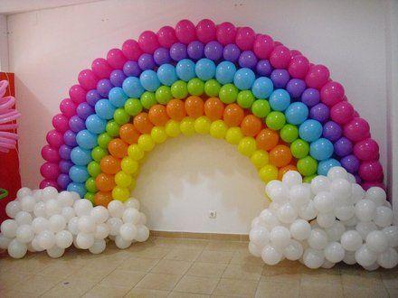 Arcoiris de globos cumplea os pinterest globo decoraci n con globos y fiestas - Decoracion metalica pared ...