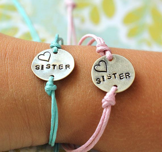 2 Customized Love My Sister Bracelet Set Adjule Matching Charm Bracelets 24 95 Via Etsy