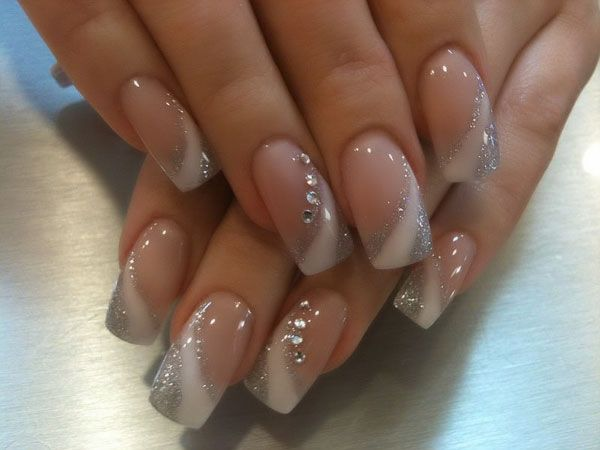 White and Silver Square Acrylic Nail Design with Rhinestones Summer 2012 by Orange Tree Beauty Center (Toronto)