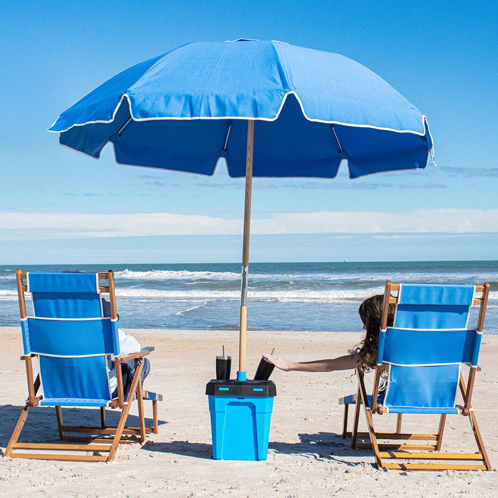 The Wind Proof Beach Umbrella Stand Hammacher Schlemmer