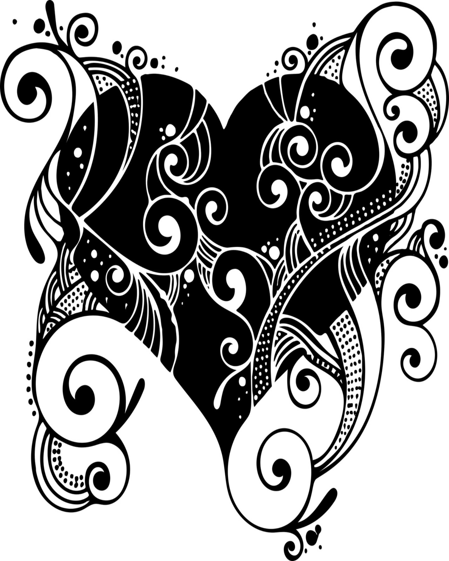 Free Printable Fancy Heart Coloring Page   Valentines Day ...