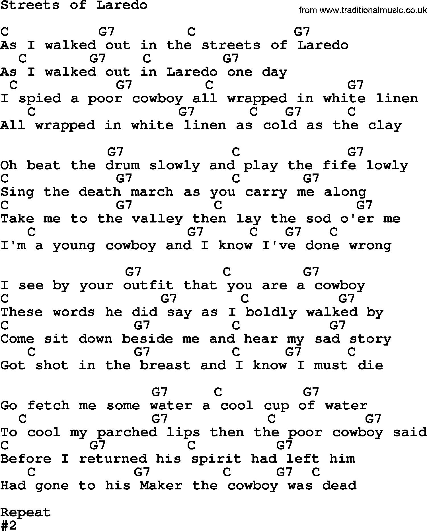 Marty Robbins Song Streets Of Laredo Lyrics And Chords Mary
