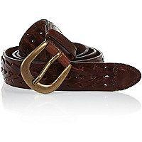 Dark brown woven belt