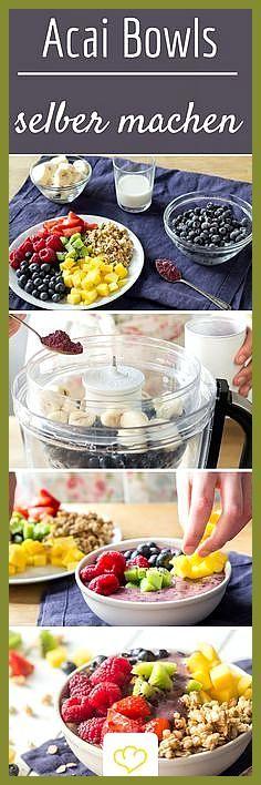 Acai-Bowl Grundrezept: Powerfrühstück in 5 Minuten #AcaiBowl #Fitness food chicken #Fitness food sty...