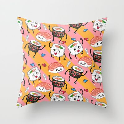 Sushi dance Throw Pillow